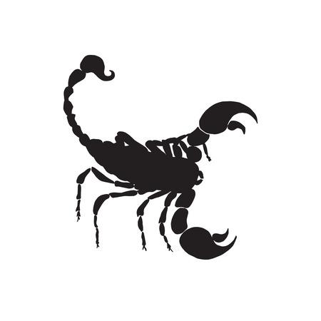 Vector scorpio black silhouette. Scorpio zodiac sign silhouette.