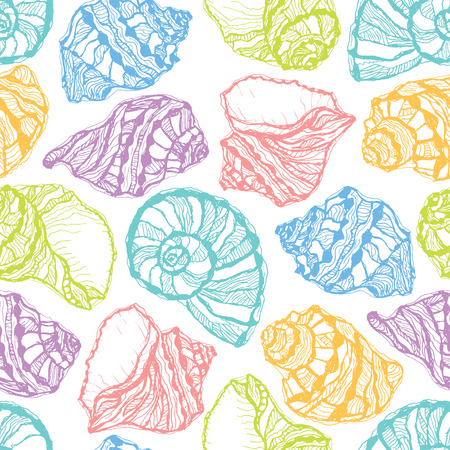 Vector seamless pattern from colorful seashell on white background. Hand drawn sketches mollusk sea shells.