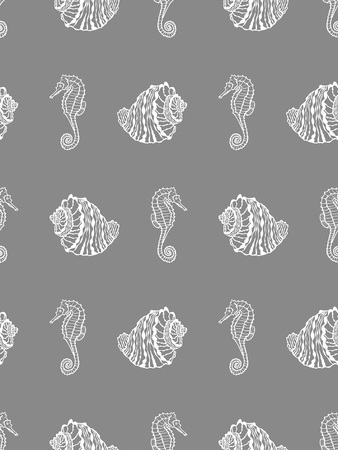 Vector seamless pattern from white seashell and seahorse on gray background. Hand drawn sketches sea shells and hippocampus Ilustração
