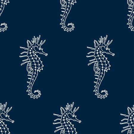 vector seamless pattern of white seahorse contour on dark blue background. Hippocampus silhouette background