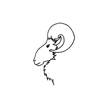Vector illustration of hand drawing ram head in profile. Black sketch goat silhouette