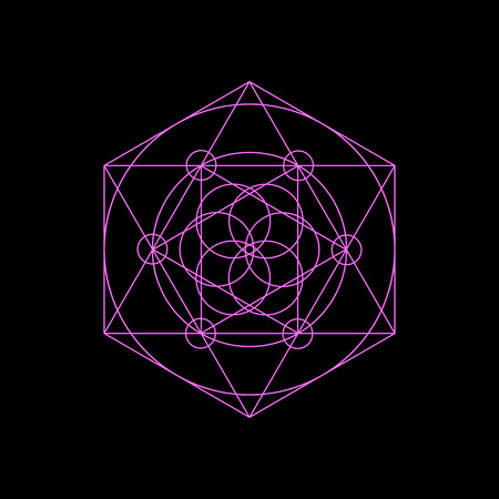 Vector neon sacred geometry symbols with triangle, hexagon, circle and floral motif. Bright mystical geometry symbol on black background