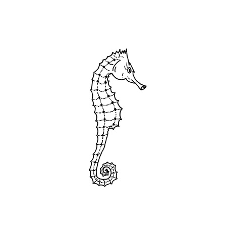 Vector illustration of seahorse silhouette. Hand drawing seahorse