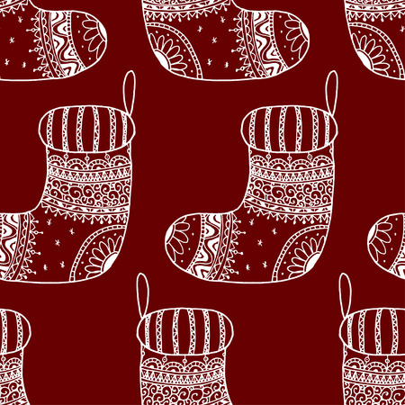 Vector seamless pattern of Christmas decorative symbol - sock. Christmas decorative texture of white stocking on red background