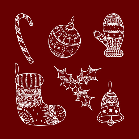 Vector set of Christmas decorative symbols - candy cane, tree ball, mitten, sock, holly, christmas bell. White decorative Christmas symbols on red background