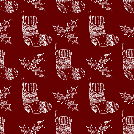 Vector seamless pattern of Christmas decorative symbol - sock and holly. Christmas decorative texture of white stocking and holly on red background Illustration