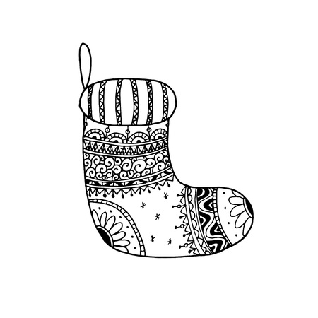 Vector Christmas decorative symbol - sock. Christmas hand drawn coloring page book for adult