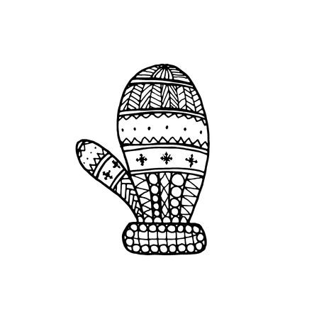 Vector Christmas decorative symbol - mitten. Christmas hand drawing coloring page book for adult Ilustración de vector