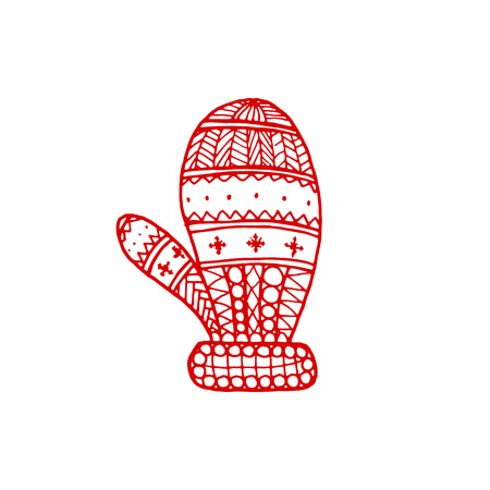 Vector Christmas decorative symbol - doodle mitten. Christmas hand drawn red mitten on white background