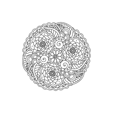 Vector decorative black floral mandala, patterned design element. Coloring book page anti stress for adults.