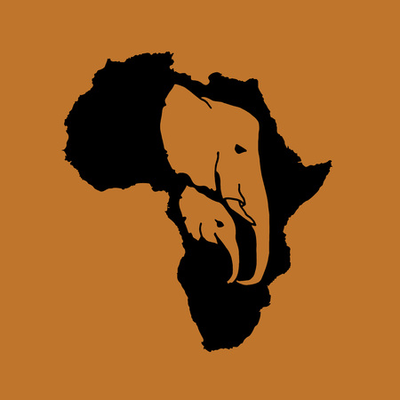 Vector silhouette of black Africa with two brown elephant head silhouette inside on brown background. Elephant mother and baby head logotype