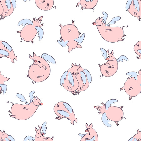Vector seamless pattern of cartoon pigs angels flying on white background. Foto de archivo - 121460349