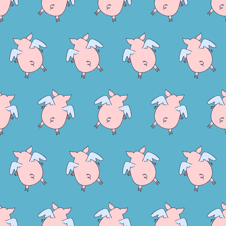 Vector seamless pattern of cartoon pigs angels flying on blue background. Foto de archivo - 121460414