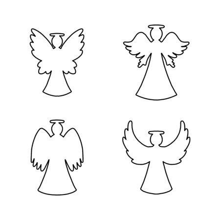 Vector set of four line art angels on white background. Religion decorative  symbols for New year, Christmas card