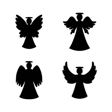 Vector set of four black angels silhouette on white background. Silhouette for New year, Christmas