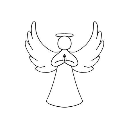 Ilustración de vector de contorno negro de ángel con alas sobre fondo blanco