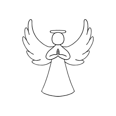 Vector illustration of black contour of angel with wings on white background