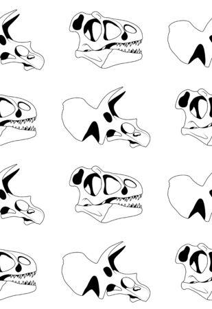 Vector il modello senza cuciture del teschio di tirannosauro grafico nero e del cranio del triceratopo su fondo bianco. Trama di dinosauro Vettoriali