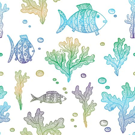Vector illustration with hand drawn gradient algae and fishes on white background. Marine seamless pattern with seaweeds, fishes and bubbles
