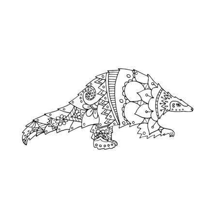 Vector illustration black and white pangolin animal. Coloring page book. Endangered species of animals, potential carrier of the pathogen coronavirus 일러스트