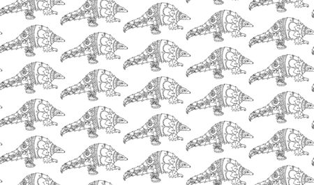 Vector illustration seamless pattern with pangolin animal. Coloring page book. Endangered species of animals, potential carrier of the pathogen coronavirus