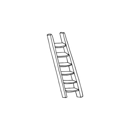 Vector illustration of a wooden stairs. Black and white staircase