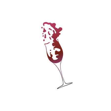 Vector illustration of a glass with splashing wine. Sketch of glasses in gradient colors  イラスト・ベクター素材