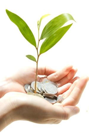desarrollo econ�mico: moneda en la mano
