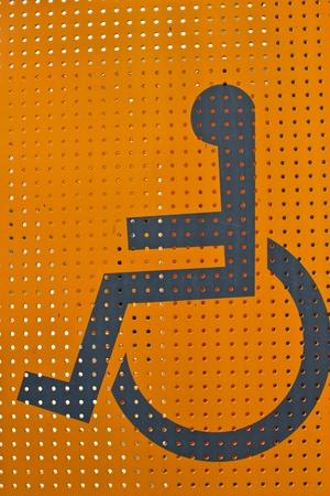 handicap sign: handicap sign with wheelchair Stock Photo