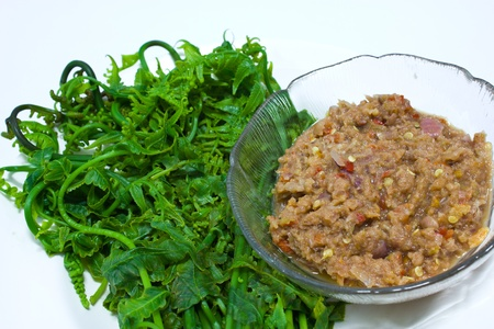 Thai spicy sauce mixed dried shrimp (namprik) photo