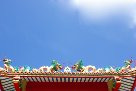 Chinese dragon on taoism temple roof