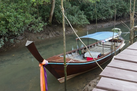 thapom: Fishing boat landed on the mangrove