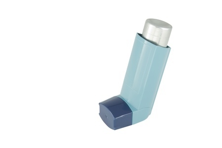Asthma inhaler isolated on  white background Stock Photo