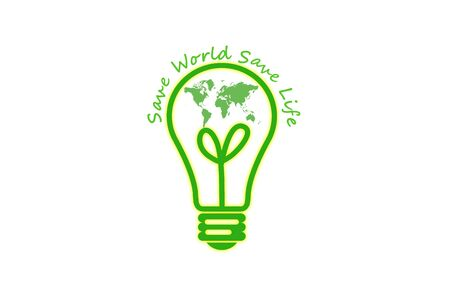 Eco green icon with light bulb
