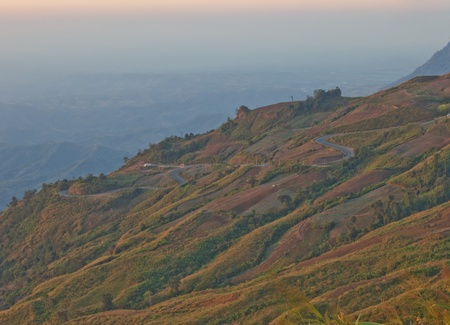 Viewpoint from Phuthapboek to see the mountain road, Phetchabun province Thailand photo