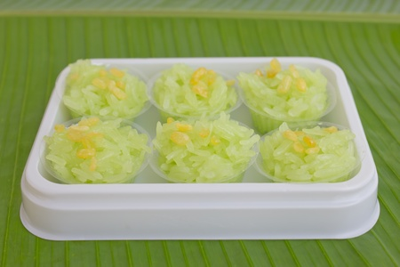 Green sticky rice photo
