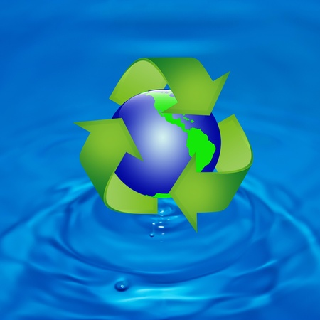 Protect the World from pollution by reduce reuse and recycle photo