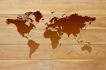 World map on the wood Stock Photo - 12955431