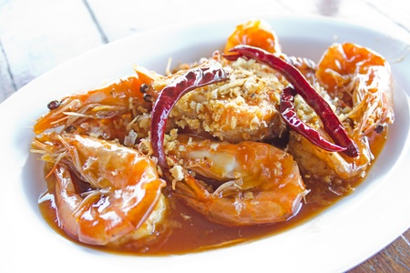 Fried shrimp with tamarind sauce Stock Photo