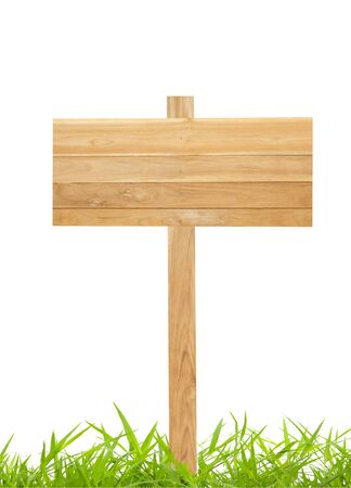 Wood sign with grass isolated on a white background photo