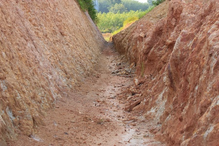 dredging: Dig a trench on the hill