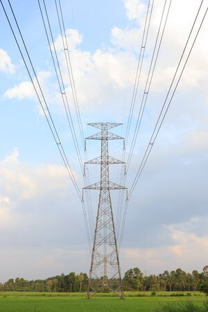 Electricity post Large high voltage power towers through the field Stock Photo - 14610333
