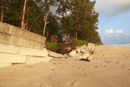 Sea wall collapsed from the storm photo