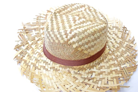 Woven ้hat on white background photo