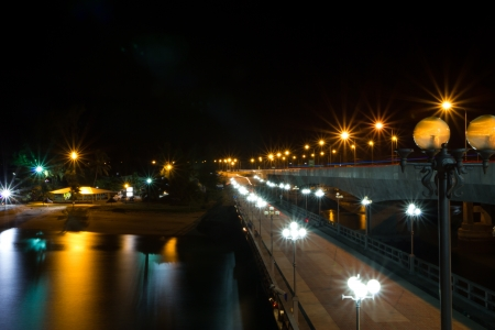 Sarasin bridge at night in Phuket, Thailand photo