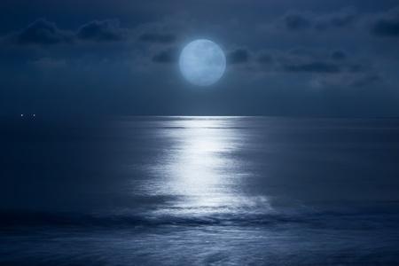 horizon reflection: Sea under the moonlight