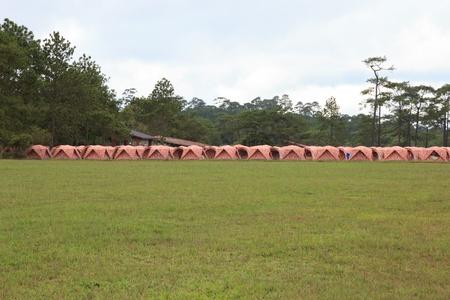 kradueng: Tents camping at Phu Kradueng, Thailand Stock Photo