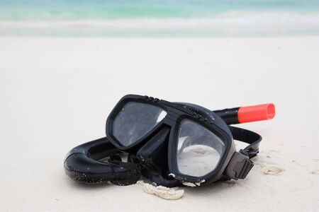 Snorkeling set on the beach of Tachai island in Phangnga, Thailand photo