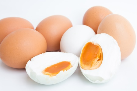 Preserved salted duck egg and more eggs Stock Photo