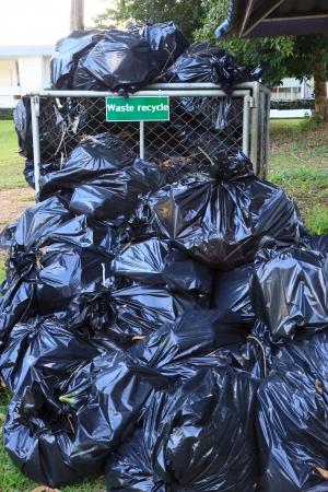 Many black waste bag Stock Photo
